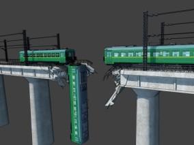 漫画场景 卡通场景 交通工具 高架桥 断桥 破碎火车 破碎桥梁 3d模型