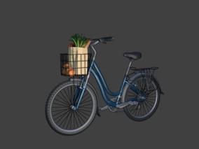 漫画场景 卡通场景 交通工具 自行车 车子 山地车 女士自行车 山地自行车 菜篮子 蔬菜