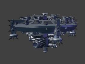 漫画场景 卡通场景 科幻场景 科幻飞船 武装飞碟 舰炮 空天母舰 3d模型