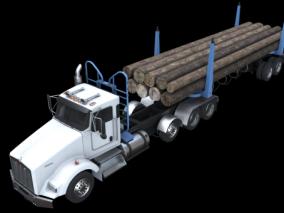 PBR-木材运输卡车 货车 3d模型