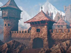 中世纪城堡   第一人称游戏环境套件  中世纪环境套件 3d模型