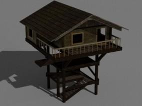 建筑露台 木质塔楼 木屋 木梯 3d模型