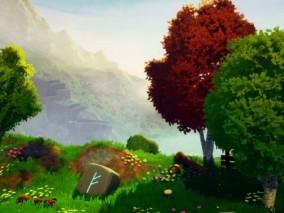 梦幻卡通自然场景 植物花草 瀑布 卡通森林 植被 梦幻温馨场景 野地 动画场景