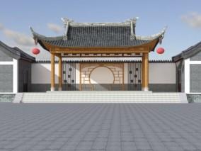 中式戏台古建 3d模型