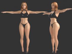 写实女人体 漂亮美女模型带高清贴图 美女基础模型 身体 人体 3d模型