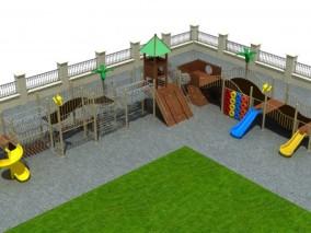 木滑梯,城堡滑梯,儿童滑梯 3d模型