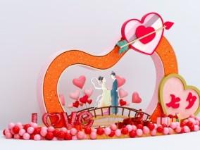 情人节 蜡烛 七夕相会 爱心 美陈 DP点 古风 长椅 七夕美陈 恋爱 心形 气球 牛郎织女