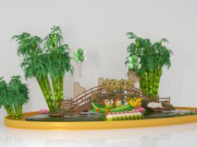 商超陈列展示 龙舟拍照 互动 五月粽子 端午节美陈 dp点 竹子 竹林 3d模型