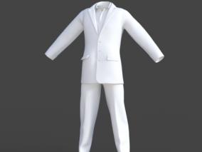 西装西服 上班族工作服 外套裤子 大衣模型带骨骼权重 3d模型