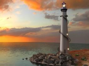 灯塔 海洋 场景 建筑