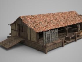 木头马厩稻草木板房子 古代房屋 草料场 古代仓库 场景房子 客栈 老房子 3d模型