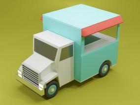 lowpoly低聚卡通卡车 汽车 货车  3d模型
