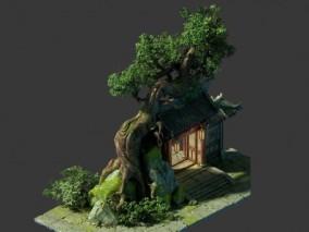 树和古建 门 建筑 仙侠 大树 大宅院 游戏场景 3d模型