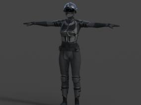 女人防护服 未来科幻装备 衣服模型带骨骼权重 3d模型