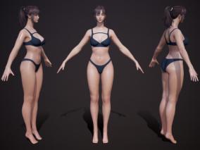 女基础裸模 性感人体 日韩风 参考模型 基础人体 比基尼 人体模型 丰满 3d模型