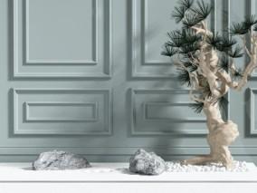 现代时尚绿植假山石 3d模型