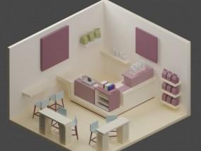 lowpoly奶茶店 商铺 店面 3d模型