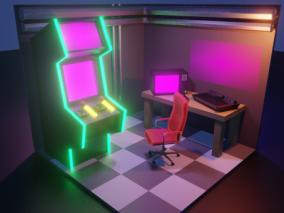 lowpoly低聚 房间 电竞房 游戏机 娱乐室 3d模型
