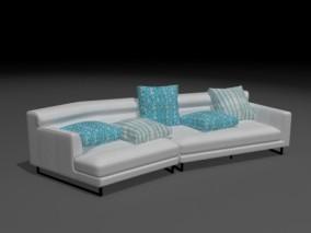 灰色组合沙发 3d模型