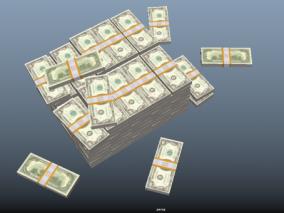 百万美金 美金 现金 美金纸币 一沓美金 银行抢劫钱 纸币钱 现金 钱币 游戏道具 美元  3d模型