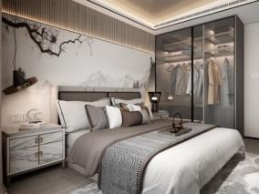 新中式卧室 3d模型