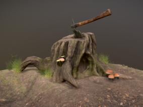 树桩 木桩 木墩 斧头 劈柴斧头 树桩 伐木场斧头 影视级树桩 蘑菇 毒蘑菇 树根 青苔枯树桩