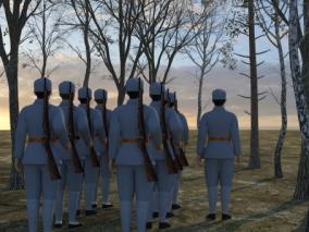 八路军(带动画)红军持枪 抗日战争八路军队伍 树林前进出发 八路军新四军长征战役