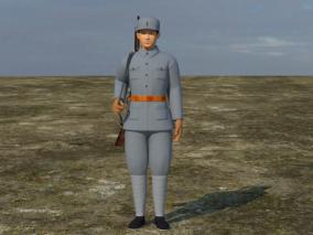 持枪 写实八路士兵模型 红军 解放军战士 指导员 男人角色模型  老兵 3d模型