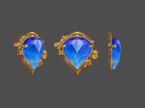 蓝水晶 蓝钻石 蓝宝石 首饰 UI 图标 手绘道具模型