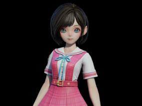女学生   可爱少女   萝莉   水手服   次世代女   短裙女孩 3d模型