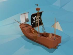 lowpoly低聚海盗船 海贼 帆船 船只 3d模型