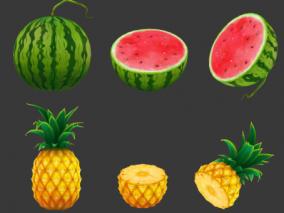 高精度 手绘 水果模型 西瓜 菠萝 百香果 橙子 猕猴桃 石榴  3d模型