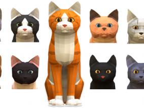 ue4 低模卡通猫 可爱小猫 虚幻4 3d模型