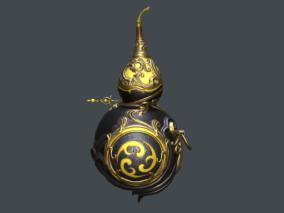 次世代 PBR 紫金木纹葫芦 法宝 法器 武器 神兵 武侠 仙侠 酒葫芦 写实 3d模型