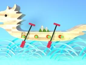 中国风端午节龙舟场景背