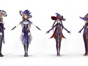 次世代 pbr 褐发美少女 游戏3d模型