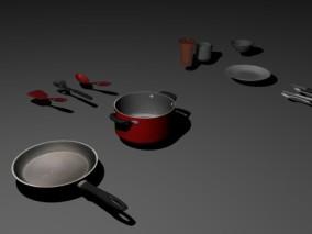 烧水锅 餐具 厨房用具 炒锅 炒菜用具 刀叉 水杯 盘子 碗 饭铲 厨具  3d模型