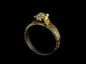 黄金钻戒-C4D模型-OC渲染工程文件 3d模型