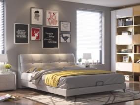 0-现代卧室皮床3d模型-cr