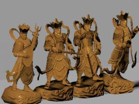 四大金刚 雕塑 模型