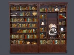 西方 古代 欧洲 复古 书柜 书架 陈列架 陈列柜 书 女神像 花瓶 古董钟 图书馆