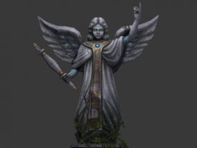 场景部件 雕像 命运女神 手绘底模 送PSD文件