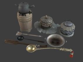 PBR 各种厨具 炉灶 陶器水壶 锅 铲子 勺子 鼎 铁锅 厨房用品 烹饪