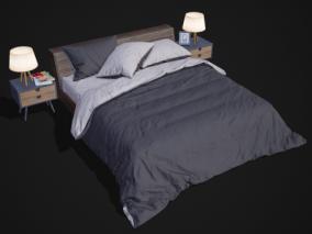 欧式 床 双人床 家具 床铺 被子 床单 枕头 棉被 高档 床头柜 台灯