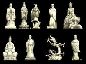 中式古建筑佛像雕像 武侠场景 仙侠模型