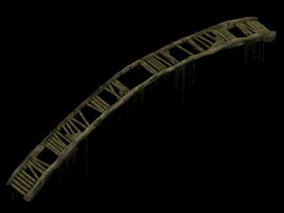 中式古代木桥 破桥 残破场景