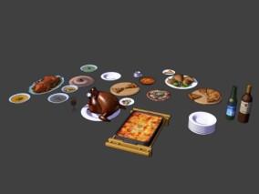 游戏场景 漫画场景 卡通场景 菜 炒菜 中餐 小炒 饭菜 烧鸡 烤乳猪 披萨 鸡块 汤 外卖 小吃