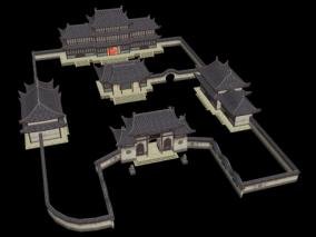古代院落二仙庵 武侠游戏场景 寺院