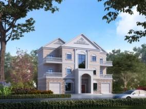 简欧别墅外观,建筑室外,外景外立面,植物灌木,汽车 3d模型