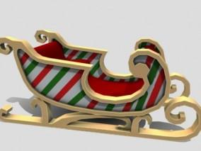 PBR次世代 雪橇车 圣诞老人 圣诞节 礼物车 雪地车 雪橇 圣诞老人 3d模型